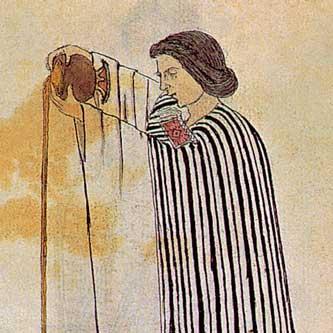 Eine hochrangige Aztekin bei der Zubereitung des heiligen Tranks