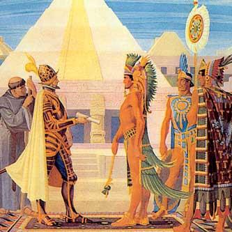 Das erste Treffen zwischen Cortez und Montezuma