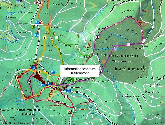 Karte mit Wanderwegen
