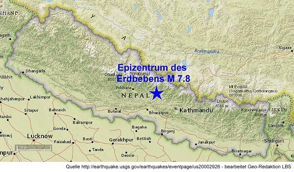 Karte mit der topografische Lage des Epizentrums