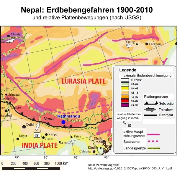 Karte Erdbebengefahren Nepal
