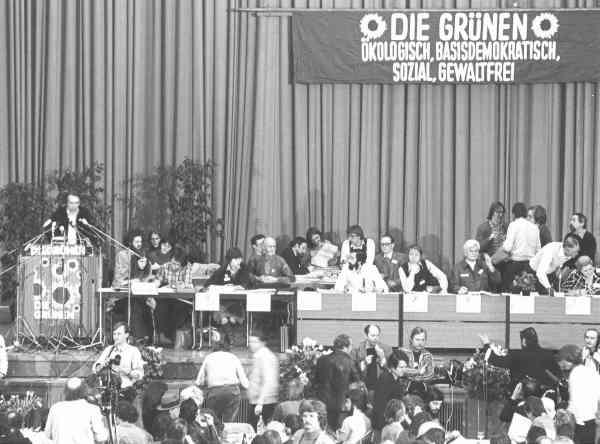 Gründungsparteitag der Grünen 1980 in Karlsruhe