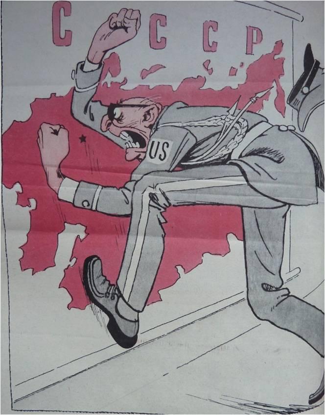 Sowjetische Karikatur aus der Satirezeitschrift