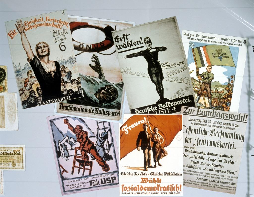 Wahlplakate aus der Weimarer Republik um 1923