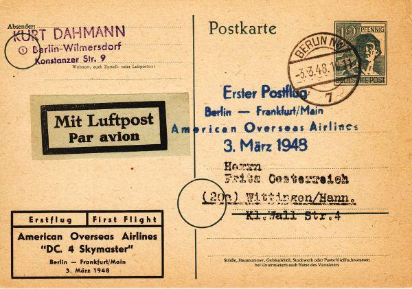 Erster Postflug 3. März 1948