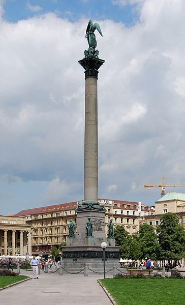 Die Jubiläumssäule auf dem Schloßplatz in Stuttgart