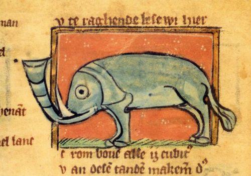 Darstellung aus: Jacob van Maerlant, Der naturen bloeme. Ms 70, Bl. 24v: Elefant (13.Jh.)