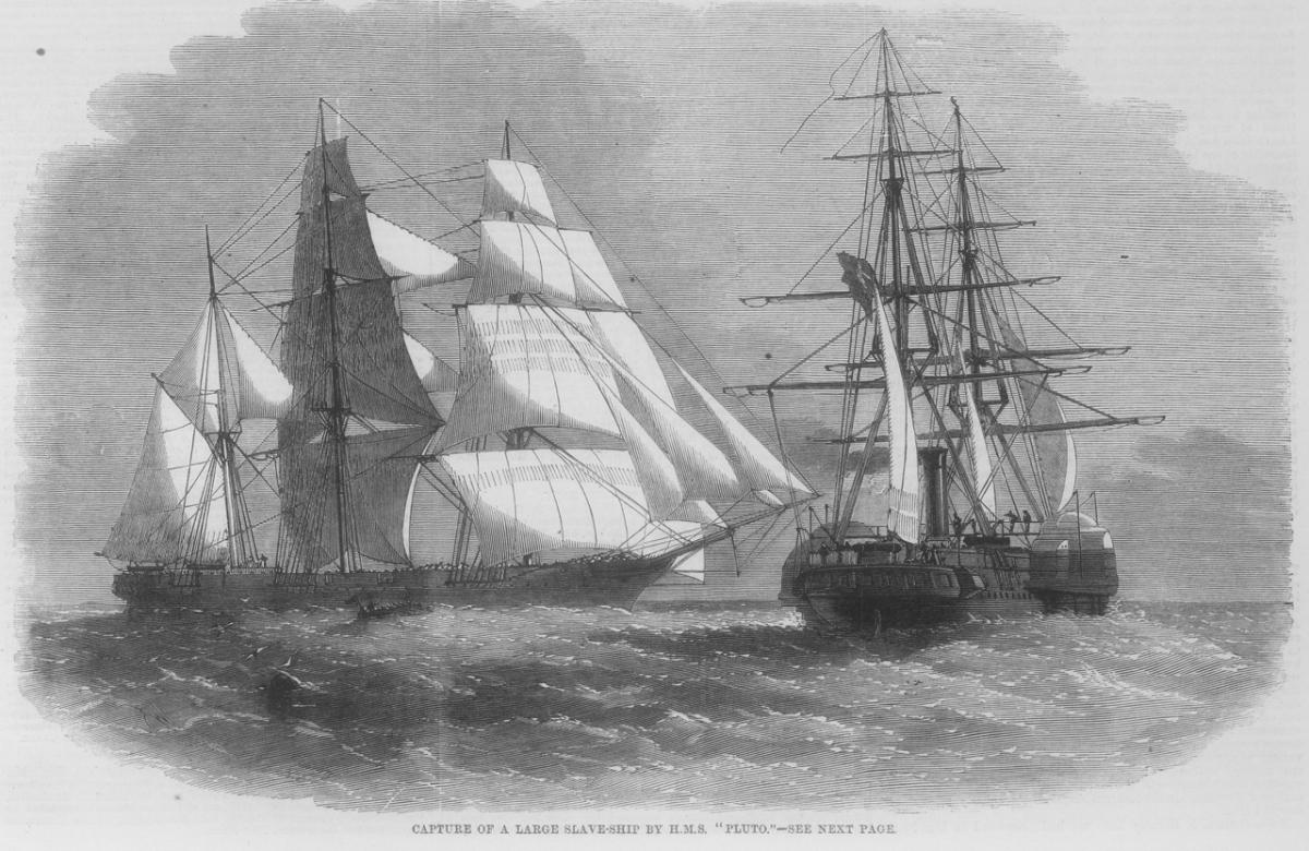 Das Dampfschiff Pluto auf der Jagd nach dem Sklavenschiff Orion am 30.11.1859