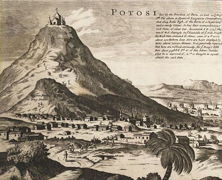 Das Silberbergwerk von Potosi im heutigen Bolivien