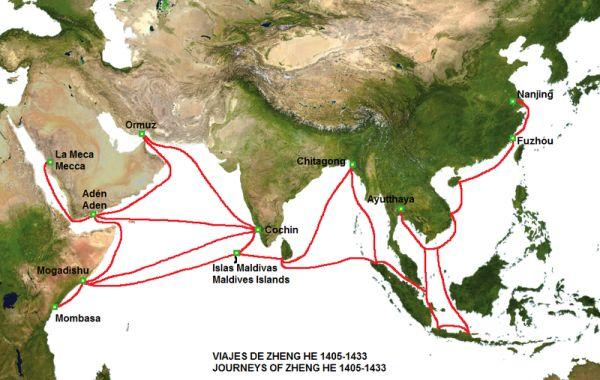 Karte der Reisen von Zheng He