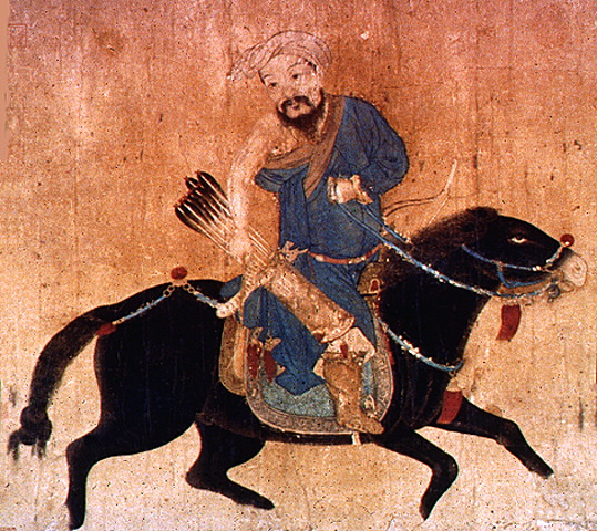 Mongolischer Reiter auf dem Marsch, chinesische Zeichnung 15. Jhd.