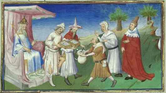 Händler bringen Silber zu den Beamten des Großkhans und erhalten im Gegenzug Papiergeld .