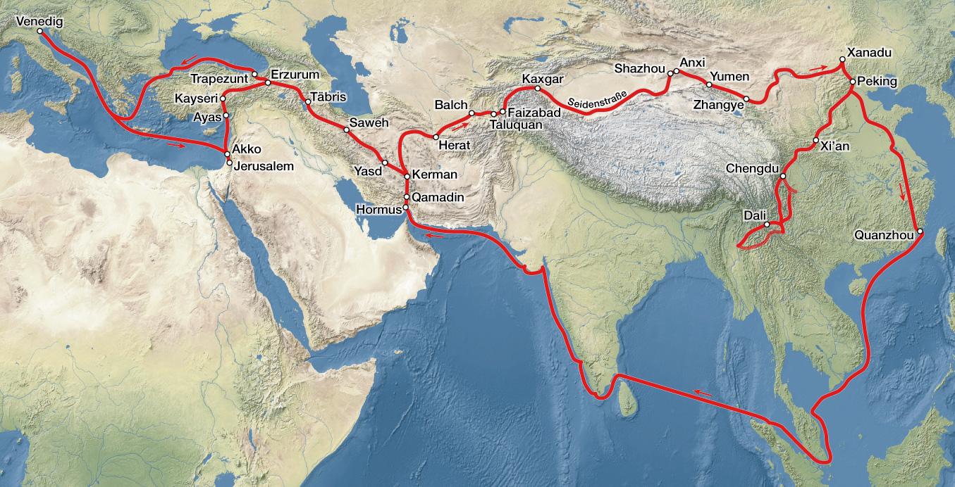 Die Reiseroute von Marco Polo