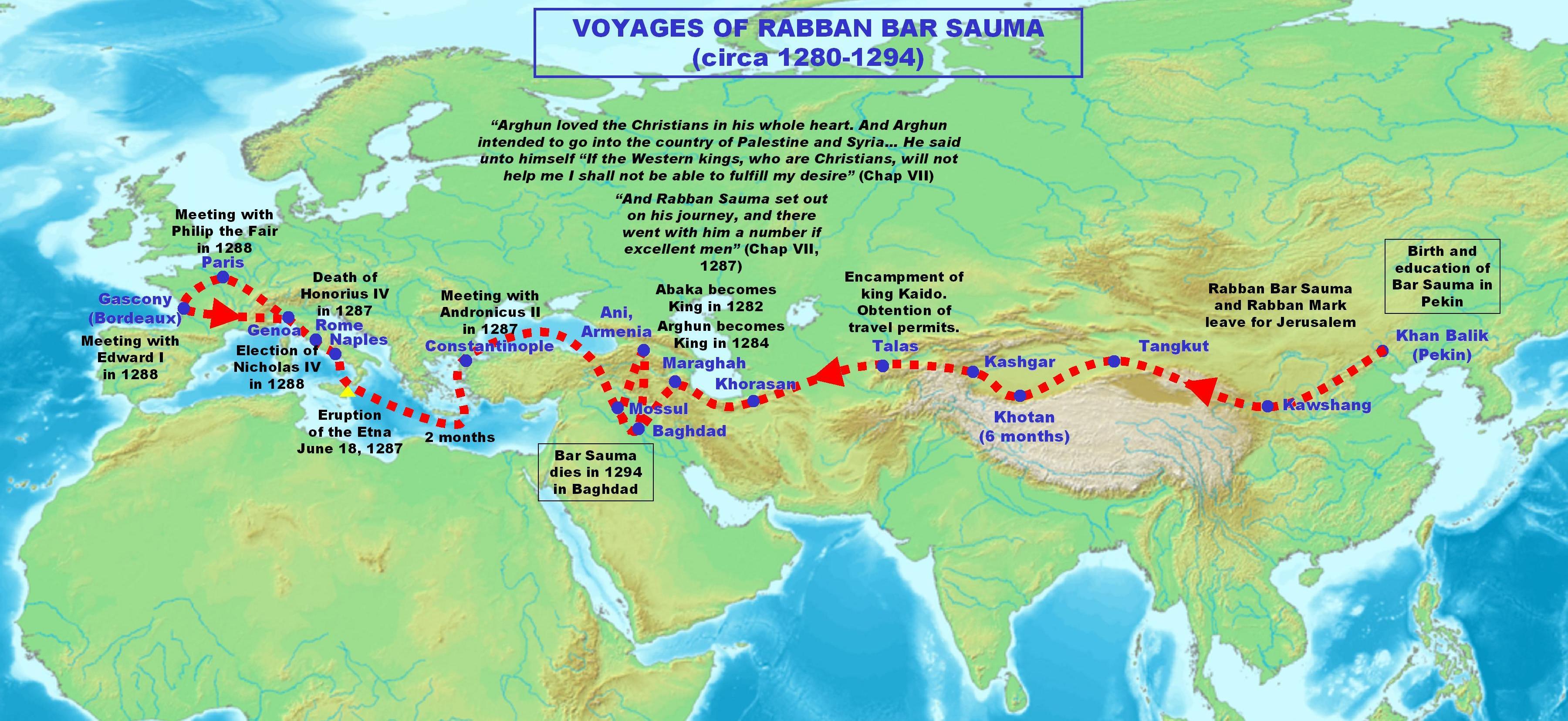 Die Reiseroute von Rabban Bar Sauma
