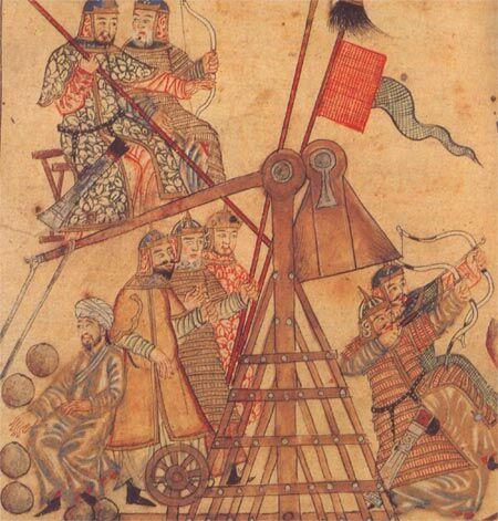 Mongolisches Belagerungskatapult (sog. Trebuchet),