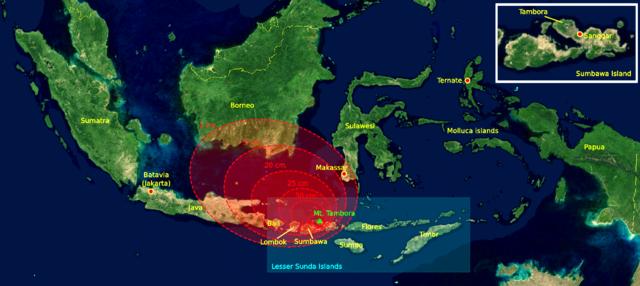 Ascheniederschläge in der Umgebung des Tambora