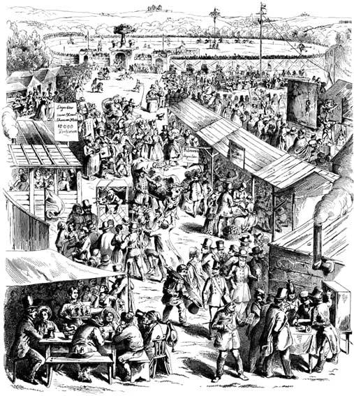 Das Cannstatter Volksfest im 19. Jahrhundert - im Hintergrund die Fruchtsäule<