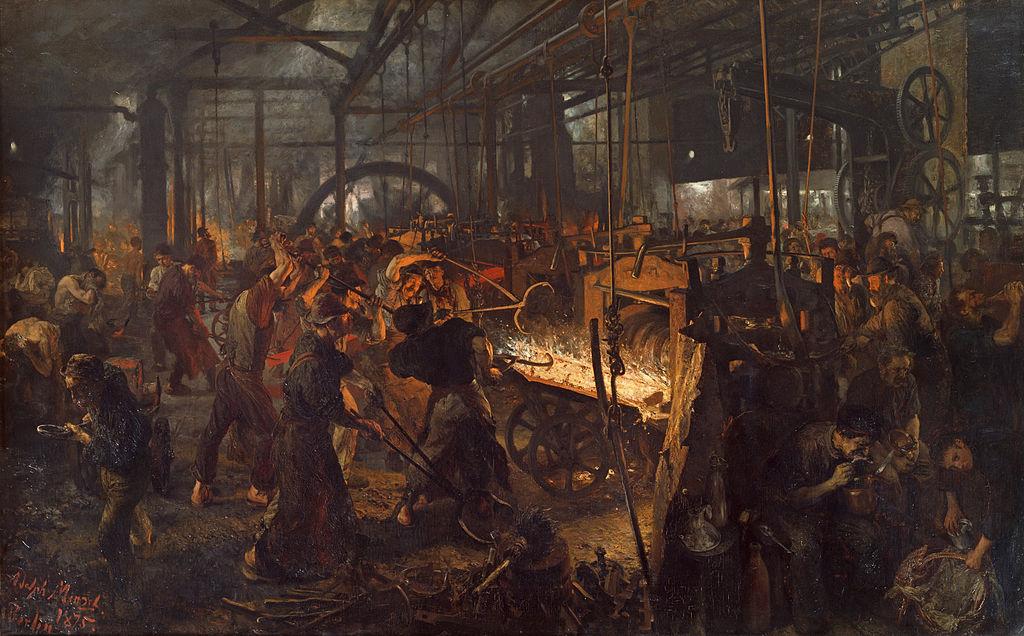 Eisenwalzwerk (Ölgemälde von Adolph Menzel 1872–1875)