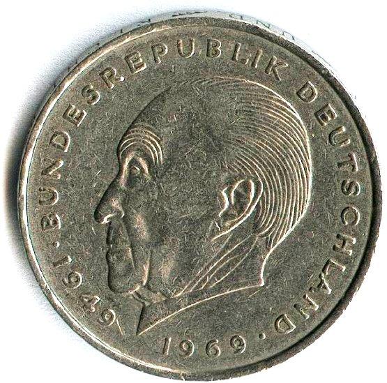 Konrad Adenauer auf der 2-DM-Münze