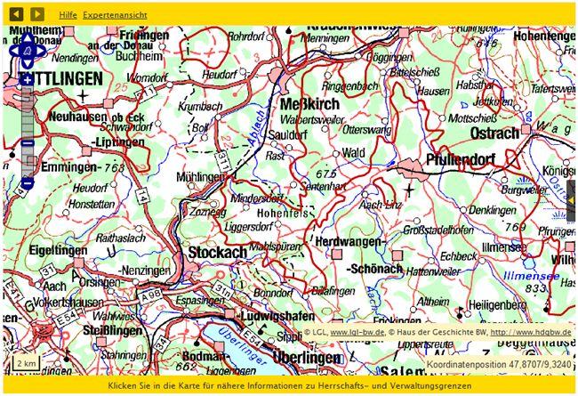 Pfullendorf mit historischen Grenzen von 1952