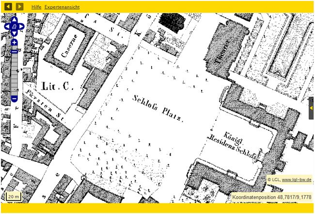 Bsp.: Stuttgart Schloßplatz: Flurkarten von 1818/1840