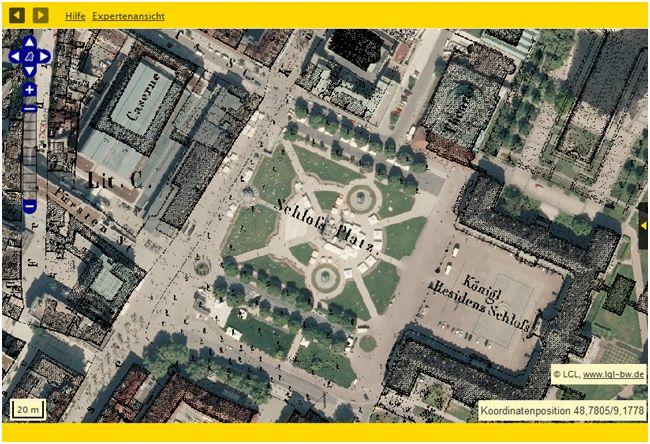 Bsp.: Stuttgart Schloßplatz: Flurkarten von 1818/1840 überlappend mit sog. Orthophotos