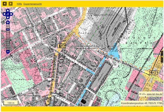 Bsp.: Stuttgart Hauptbahnhof: Flurkarten von 1818/1840 überlappend mit heutiger topographischer Karte