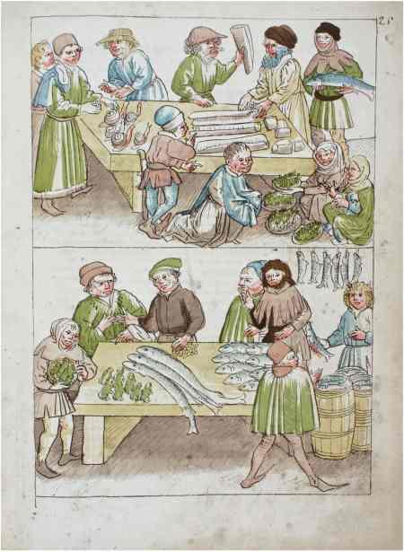 Ulrich Richental: Verkauf von Fischen, Fröschen und Schnecken