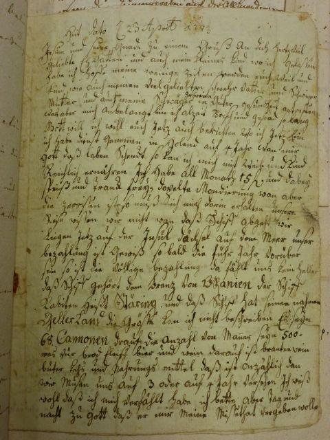 Erste Seite des Briefes von Christian Bantlen