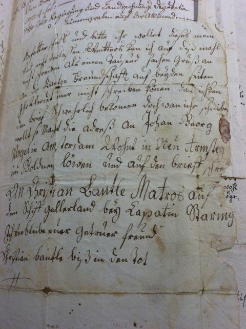Dritte Seite des Briefes von Christian Bantlen