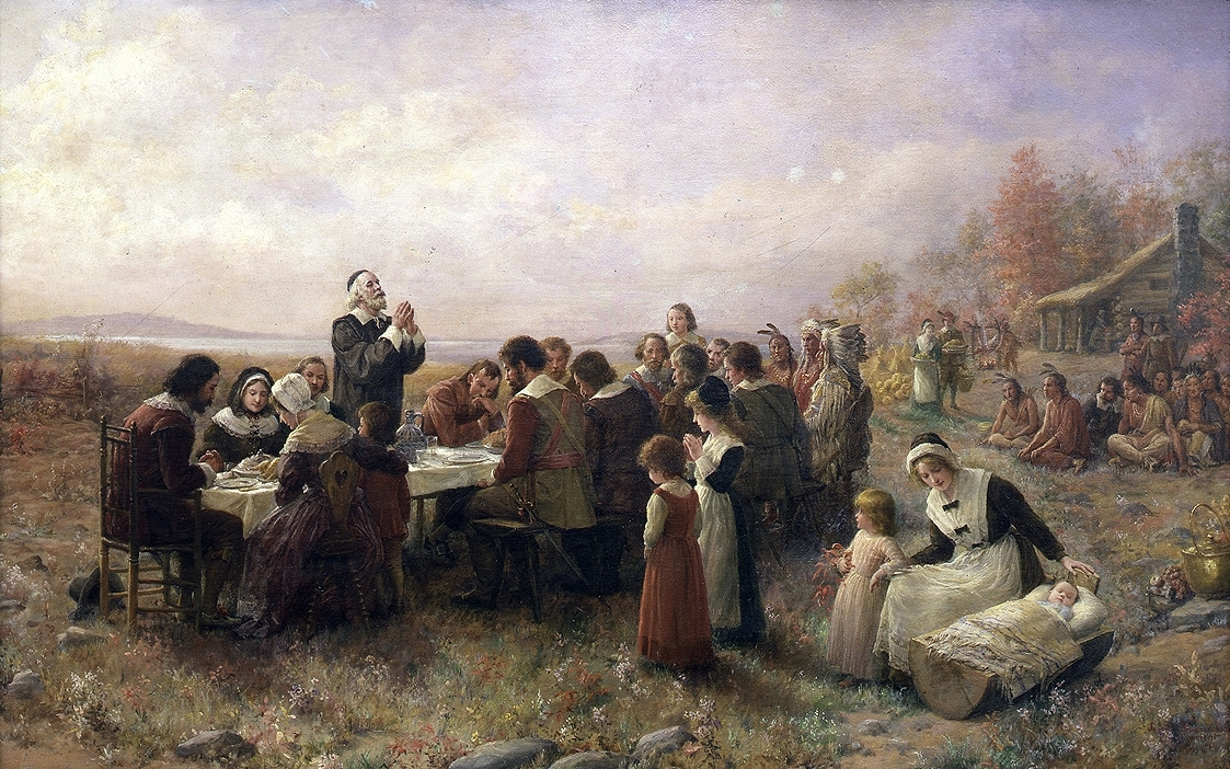 The first Thanksgiving at Plymouth (1914) by Jennie A. Brownscombe