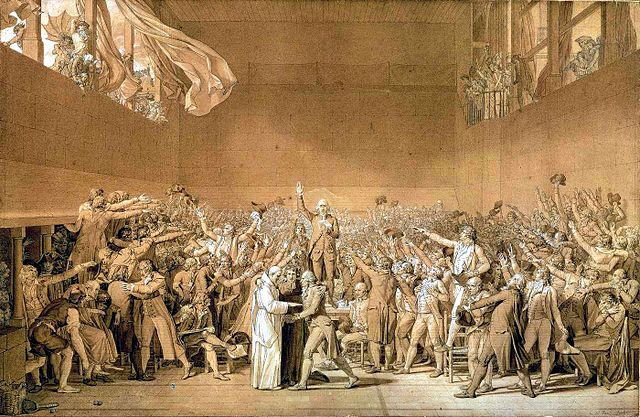 The Tennis Court Oath, Jacques-Louis David, 1791
