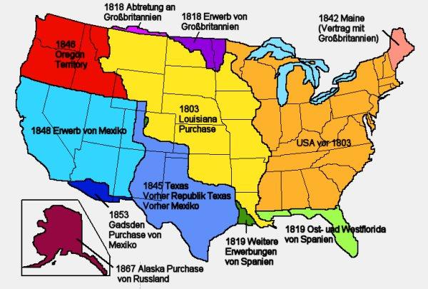 Karte Expansion der USA im 19. Jahrhundert
