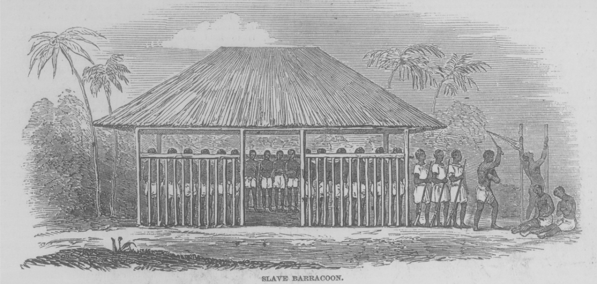 Eine Sklavenbaracke (slave barracoon) in Sierra Leone 1840