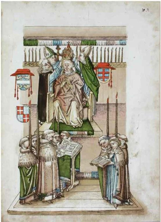 Richental: Krönung des neuen Papstes Martin V.