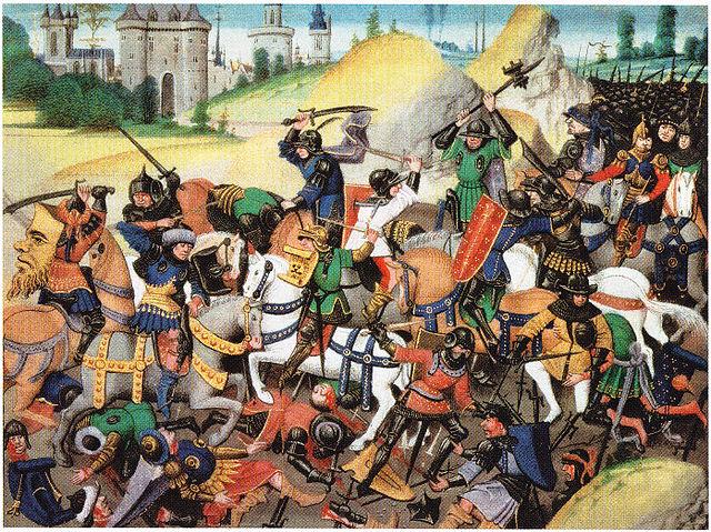 Kreuzritter in einem Gefecht vor den Mauern Antiochias im Zuge  der Belagerung der Stadt in den Jahren 1097 und 1098