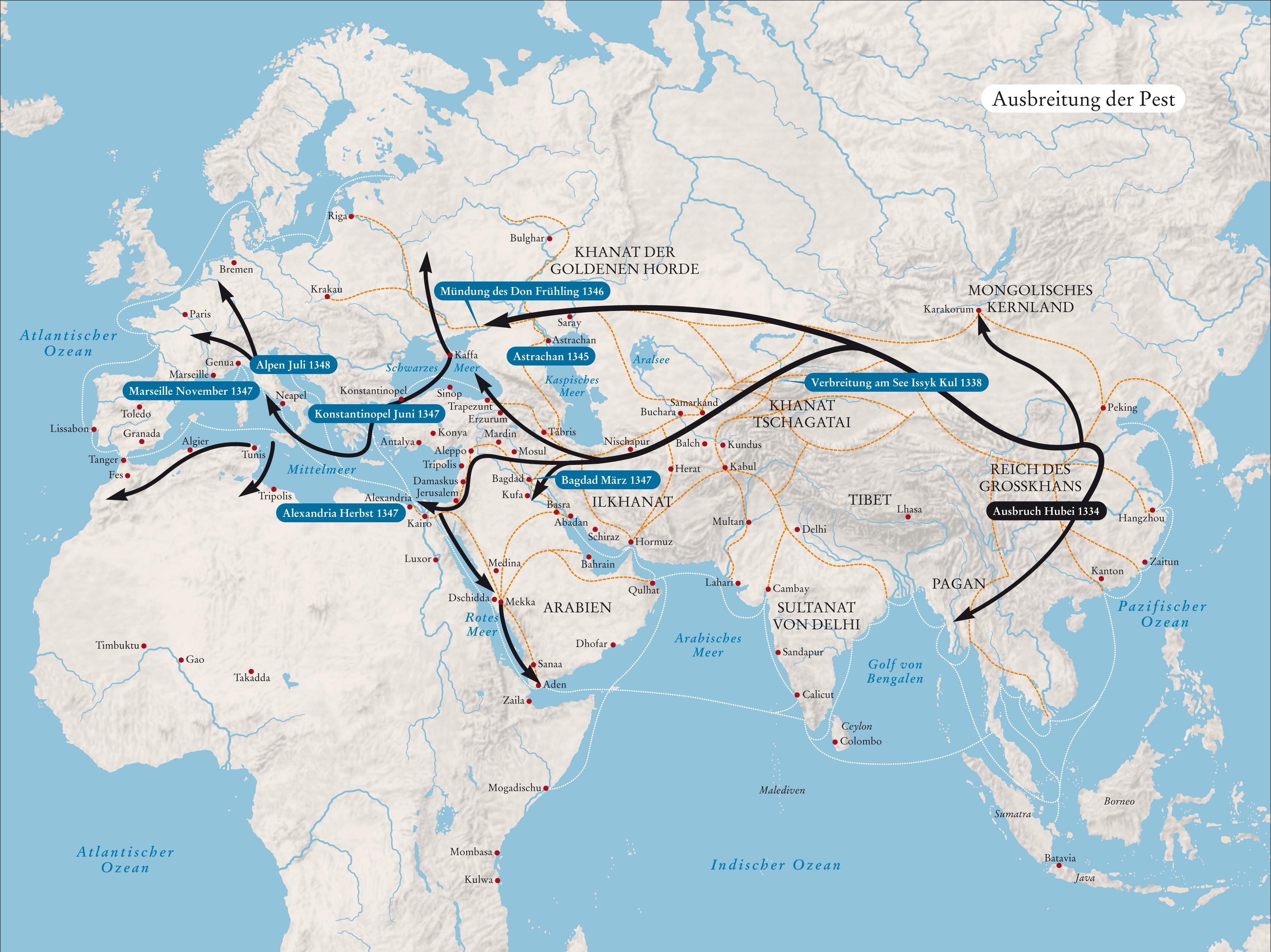 Ausbreitung der Pest von Asien nach Europa