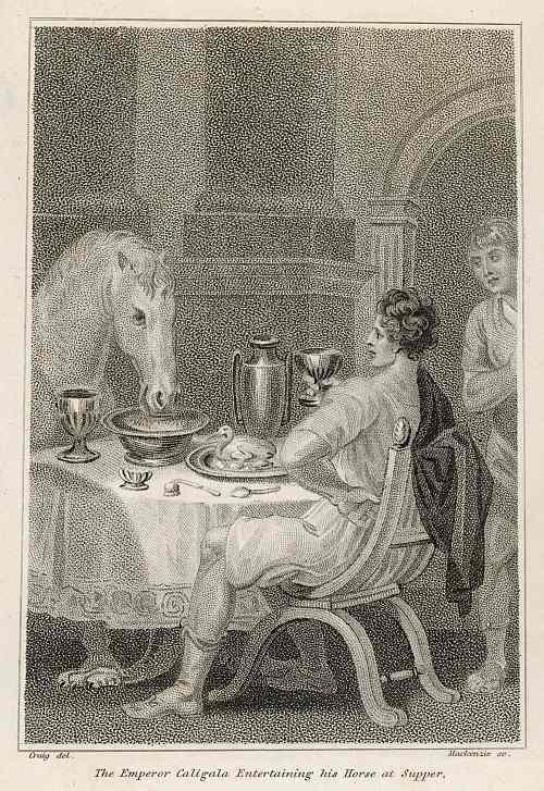 Caligula speist mit seinem Pferd Incitatus, das er zuvor zum Konsul gekürt hat.