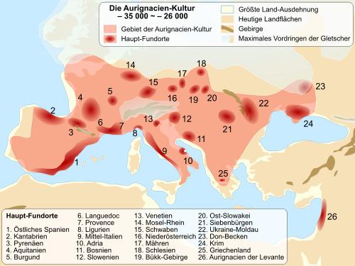 Funde aus dem Aurignacien in Europa