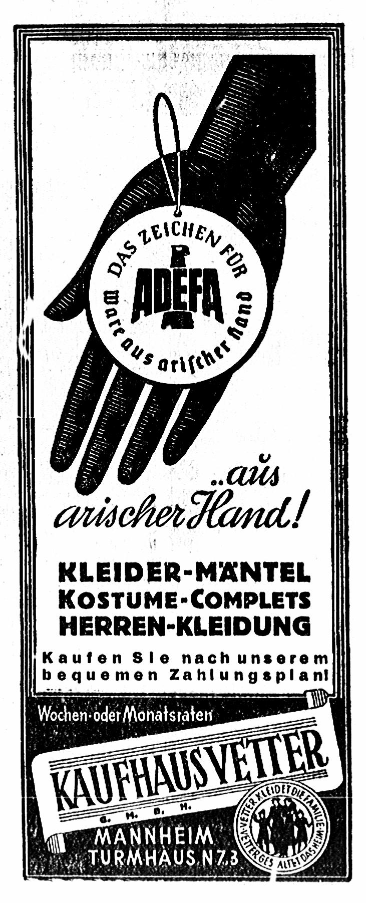 adefa, Ware aus arischer Hand