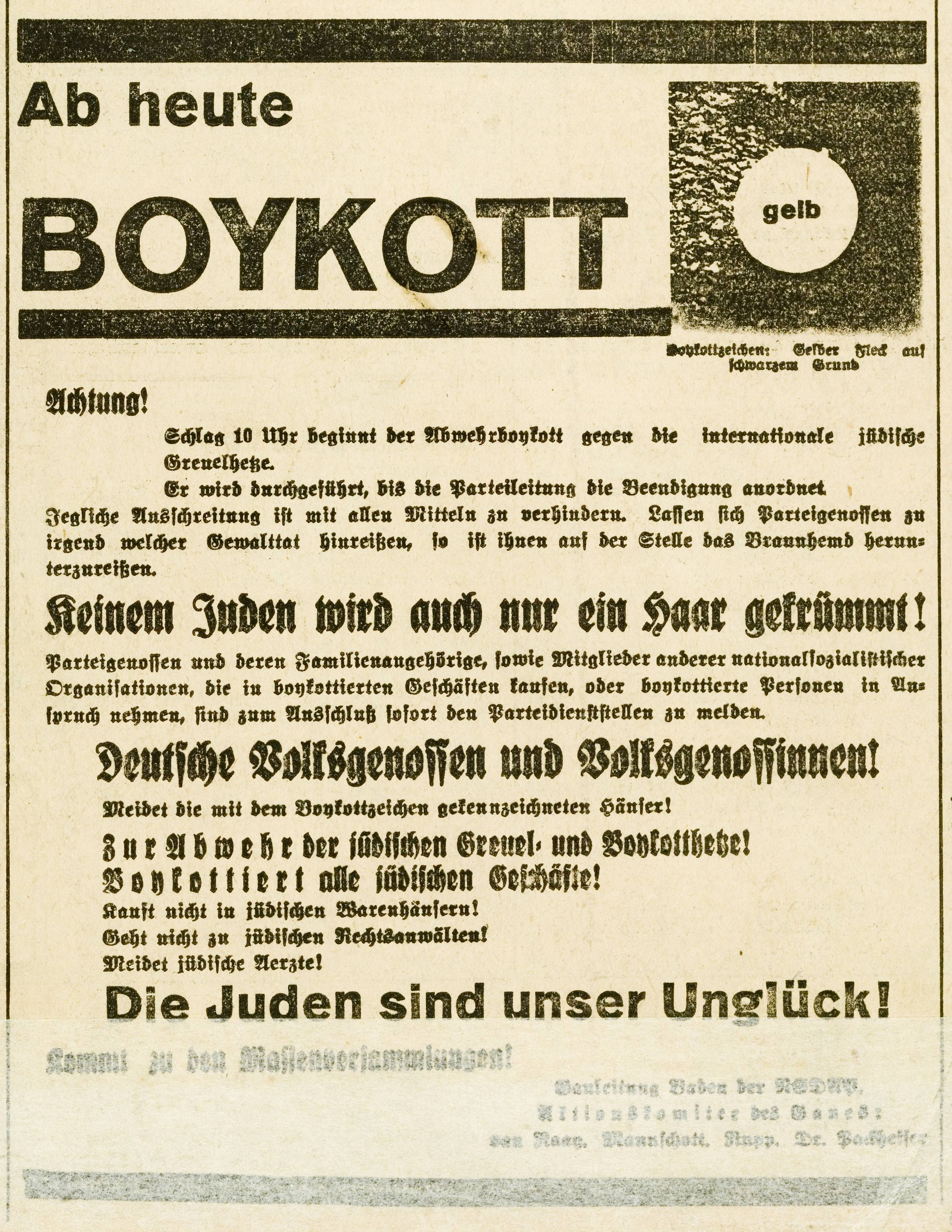 Aufruf zum Boykott jüdischer Geschäfte