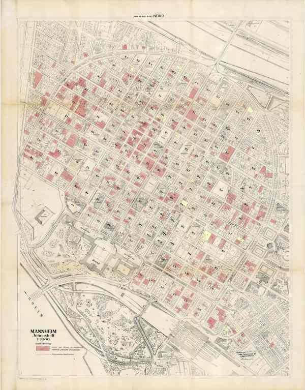 Stadtplan von 1949 mit arisierten Grundstücken der Stadt Mannheim