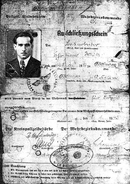 Ausschließungsschein von Christian Weiß aus Göttingen