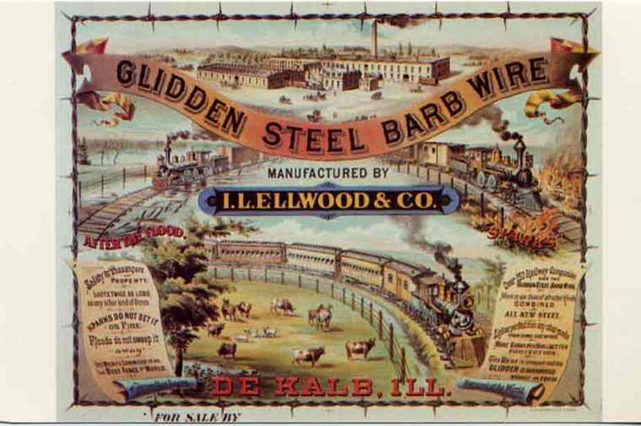 Glidden Barbed Wire manufactured by Isaac L. Ellwood in DeKalb, Ill. Presumed 1880s advertising poster.