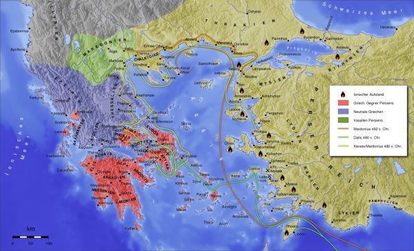 Karte der Perserkriege im 5 Jh. v. Chr.