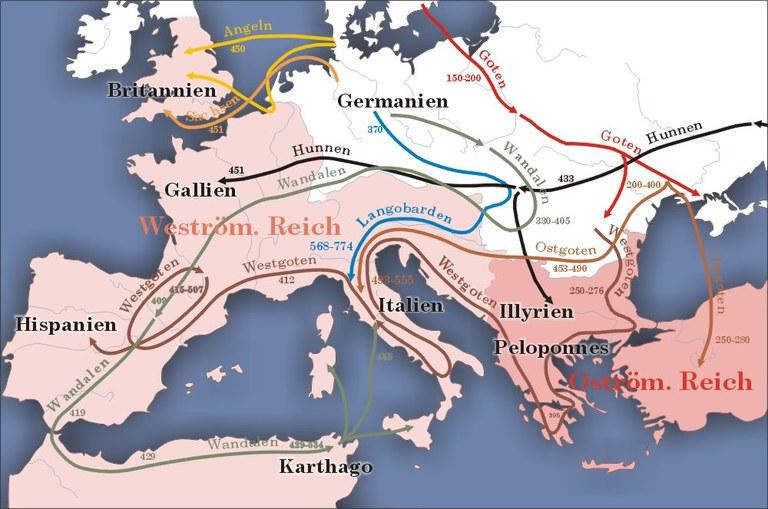 Urheber: Sansculotte via Wikimedia Commons (https://upload.wikimedia.org/wikipedia/commons/0/00/Karte_v%C3%B6lkerwanderung.jpg)