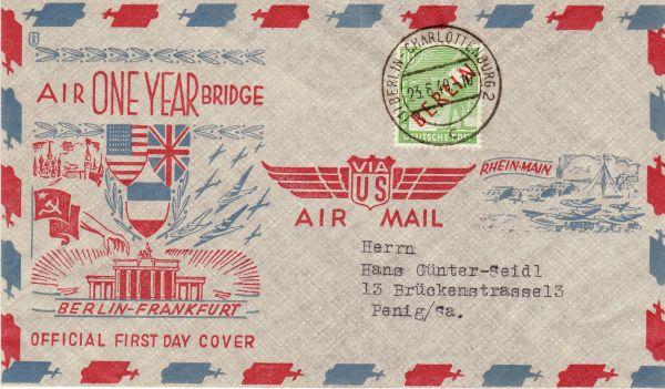 Ersttagsbeleg zur Luftbrücke vom 23.6.1949