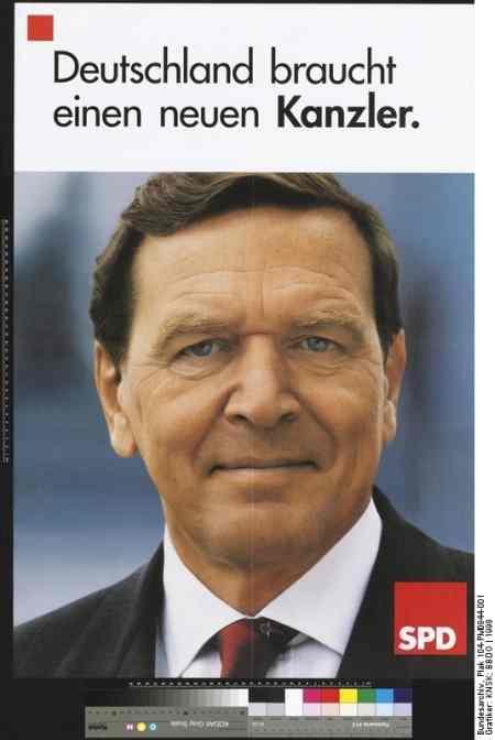 Plakat der SPD mit Gerhard Schröder im Wahlkampf 1998