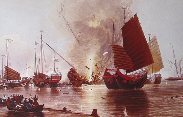 Das britische Schiff HMS Nemesis zerstört chinesische Dschunken zu Beginn des ersten Opiumkrieges