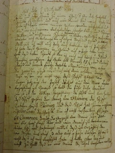 Bantlen Brief 1. Seite